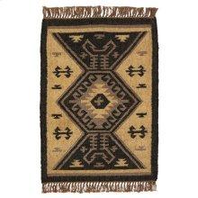 Black & Tan Kilim Pattern 2'x3' Rug.