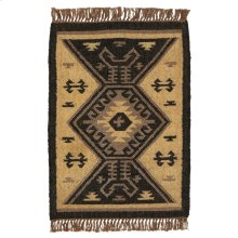 Black & Tan Kilim Pattern 2'x3' Rug.