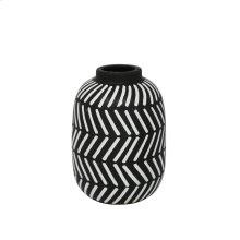 """Ceramic 9.5"""" Tribal Vase, Black/white"""