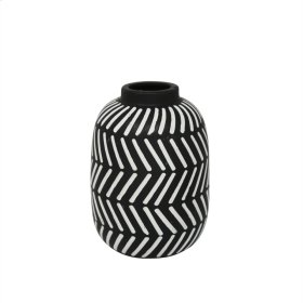 "Ceramic 9.5"" Tribal Vase, Black/white"