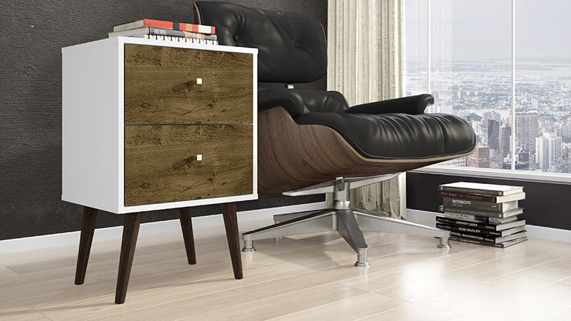 Liberty Mid Century - Modern Nightstand 2.0 with 2 Full Extension Drawers in White and Rustic Brown with Solid Wood Legs