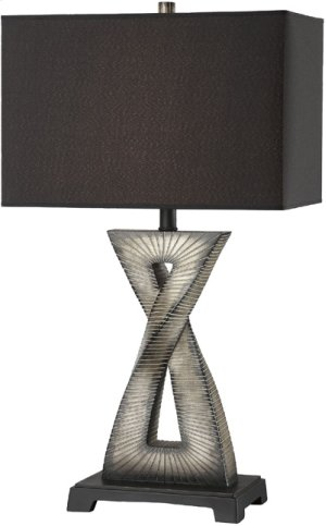 Table Lamp, Aged Ivory W/black Fabric Shade, E27 Type A 150w