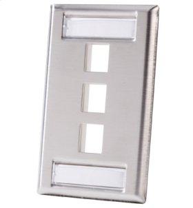 Single gang stainless steel faceplate, holds three Keystone jacks or modules