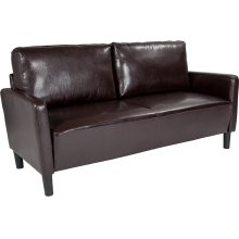 Washington Park Upholstered Sofa in Brown Leather