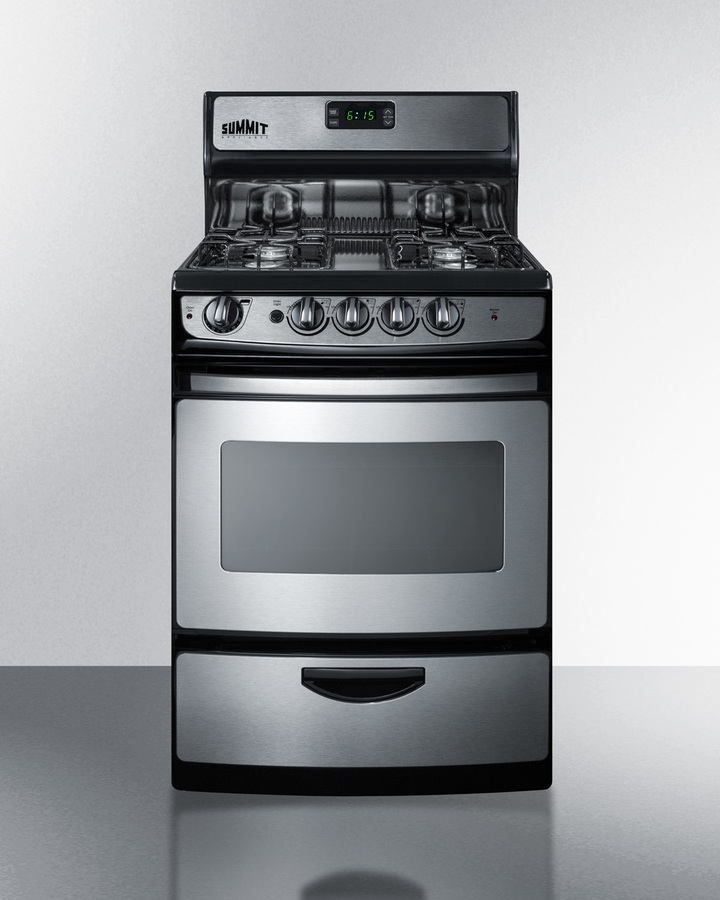"""pro246sssummit 24"""" wide gas range in stainless steel with electronic"""