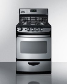 """24"""" Wide Gas Range In Stainless Steel With Electronic Ignition, Oven Window, Open Burners, and Digital Clock/timer"""