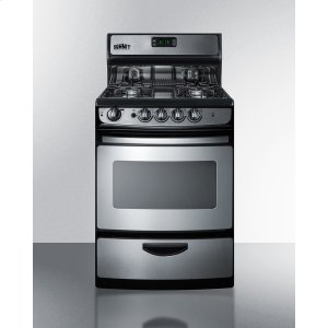"""Summit24"""" Wide Gas Range In Stainless Steel With Electronic Ignition, Oven Window, Open Burners, and Digital Clock/timer"""