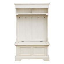 Antique White Hall Tree Hutch