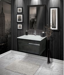 Cityscape Wallmount Vanity With Tempered Glass Countertop - Charcoal