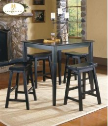 5PC Pack Dinette Set Black Sand-Through Finish