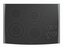 """Black-on-Stainless Whirlpool® 30"""" Electric Ceramic Glass Cooktop"""