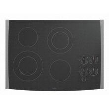 "Black-on-Stainless Whirlpool® 30"" Electric Ceramic Glass Cooktop"