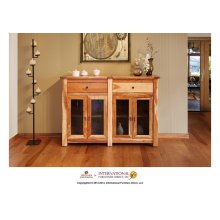 "60"" Console w/4 Glass doors, 2 drawers"