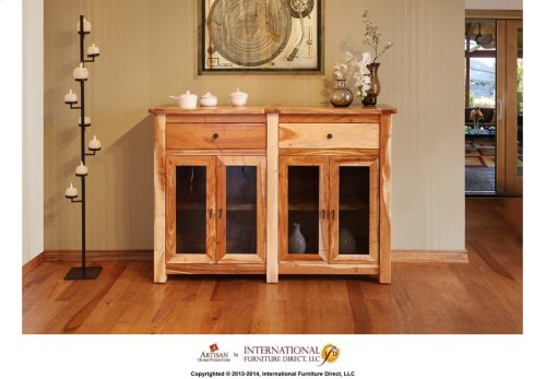 """60"""" Console w/4 Glass doors, 2 drawers"""