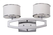 Lenora Double Drum Sconce - Etched White Shade And Chrome Lamp