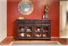 HOT BUY CLEARANCE!!! 70in Console w/ 3 Drawers, 4 Glass doors, & wire management on back panel