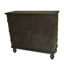 Mountainburg 2 Door Antiqued Brown Oak Cabinet with Nailhead Trim