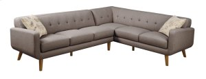 2 PC Sectional-lsf Sofa-rsf Corner Sofa Brown W/2 Accent Pillows