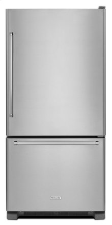 19 cu.ft. 30-Inch Width Full Depth Non Dispense Bottom Mount Refrigerator - Stainless Steel
