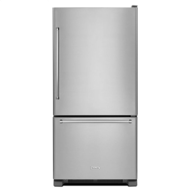 KitchenAid 19 cu. ft. 30-Inch Width Full Depth Non Dispense Bottom Mount Refrigerator - Stainless Steel