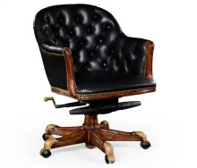 Chesterfield Style Walnut Office Chair, Upholstered in Black Leather