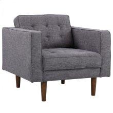 Armen Living Element Mid-Century Modern Chair in Dark Gray Linen and Walnut Legs