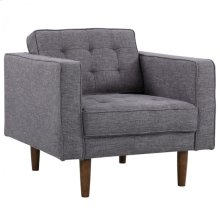 Armen Living Element Mid-Century Modern Chair in Dark Gray Linen and Walnut Legs