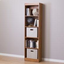 5-Shelf Narrow Bookcase - Country Pine