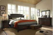 Essence King or Queen Low Profile Storage Bed, Dresser, Mirror, Chest, & Nightstand
