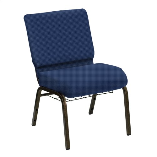 Wellington Frosted Blue Upholstered Church Chair with Book Basket - Gold Vein Frame