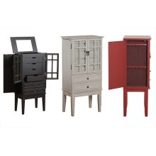 14J8038RE or 14J8038WH Glass Door Jewelry Armoire