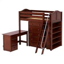 High Loft w/ Angle Ladder, 5 Drawer Dresser, Desk & Bookcase : Twin : Chestnut : Curved