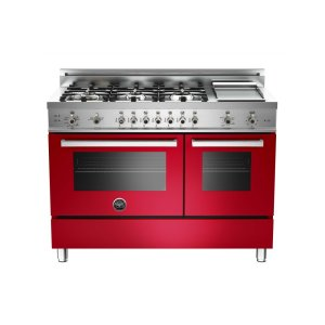 48 6-Burner + Griddle, Gas Double Oven Red - RED