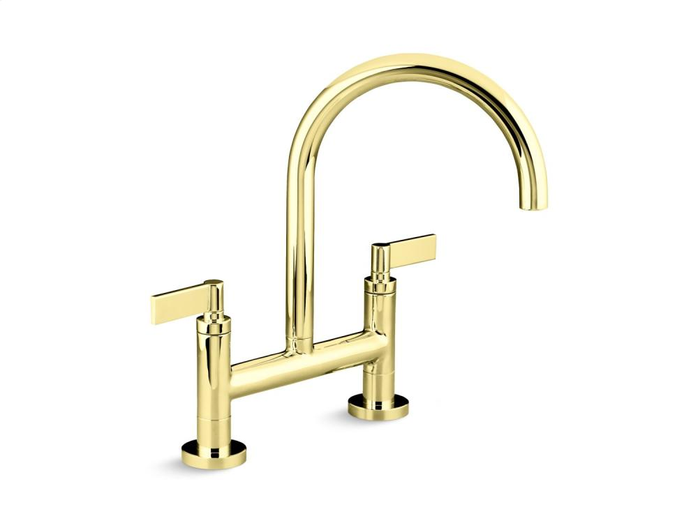 Deck Mount Bridge Kitchen Faucet, Lever Handles   Unlacquered Brass