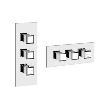 """TRIM PARTS ONLY External parts for thermostatic with 2 volume controls Single backplate High capacity 3/4"""" connections Vertical/Horizontal application Anti-scalding Requires in-wall rough valve 39693"""