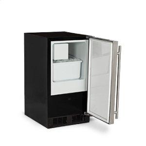 """Marvel15"""" Low Profile Crescent Ice Machine - Solid Stainless Steel Door - Left Hinge"""