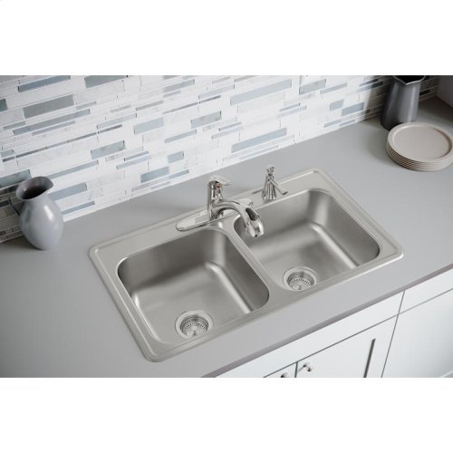 """Dayton Stainless Steel 33"""" x 19"""" x 8"""", Equal Double Bowl Drop-in Sink"""
