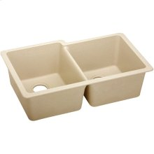 "Elkay Quartz Classic 33"" x 20-1/2"" x 9-1/2"", Offset Double Bowl Undermount Sink, Sand"