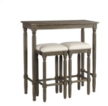 Bar Table (1 Table + 2 Stools/Ctn) - Peppercorn Gray Finish