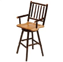 "Swivel Counter Stool - 24"" high - Natural Hickory - Wood Seat"