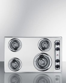 """30"""" Wide 220v Electric Cooktop In Chrome With 4 Coil Elements"""