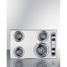 "30"" Wide 220v Electric Cooktop In Chrome With 4 Coil Elements"
