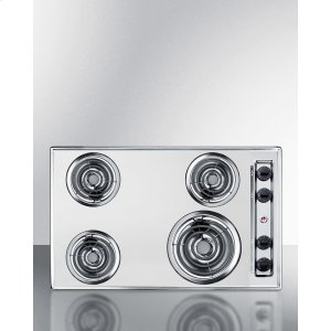 "Summit30"" Wide 220v Electric Cooktop In Chrome With 4 Coil Elements"