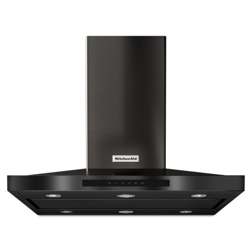 "36"" Island-Mount, 3-Speed Canopy Hood - Black Stainless Steel with PrintShield™ Finish"