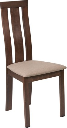 Glenwood Walnut Finish Wood Dining Chair with Vertical Wide Slat Back and Magnolia Brown Fabric Seat