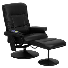 Massaging Multi-Position Recliner with Side Pocket and Ottoman in Black Leather