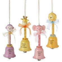 Animal Bell Baby Ornament (4 asstd).