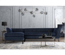 Jess Navy Textured Linen LAF Sectional Product Image