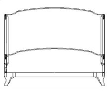 Cali King Louis XV Mahogany Bed, Upholstered in Lime Velvet