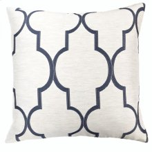 Paxton Contemporary Decorative Feather and Down Throw Pillow In Cobalt Jacquard Fabric